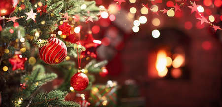 Christmas Tree with Red Balls and Stars. Winter Holiday Background