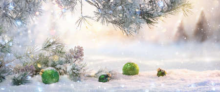 Winter Sunny Landscape with Spruce Branches. Christmas Decoration Stockfoto