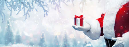 Christmas present from Santa Claus. Winter Holiday Background Stockfoto
