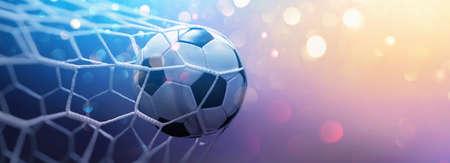 Soccer Ball in Goal on Multicolor Background Standard-Bild