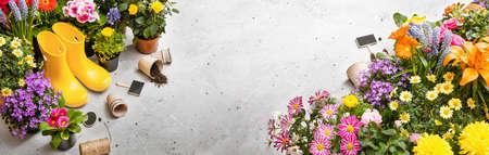 Gardening Tools on Shale Background. Spring Garden Works Concept Standard-Bild
