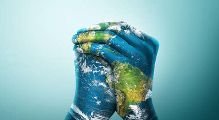 Green Planet in Your Hands. Save Earth. Environment Concept.