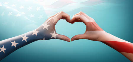Happy Memorial Day with America Flag Pattern on People Hands Standard-Bild