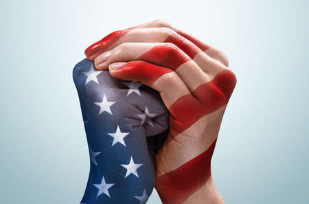 United Hands with American Flag Pattern/ Memorial Day