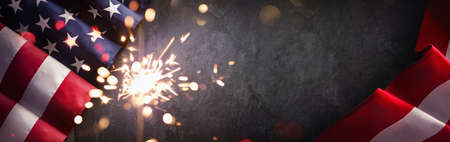 American Flag with Sparklers. United States Independence Day Standard-Bild