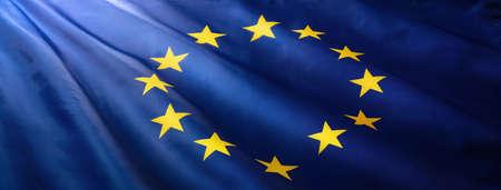 European Union Flag Waving on a High Quality Standard-Bild