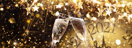 New Years Eve 2021 Celebration Background with Champagne
