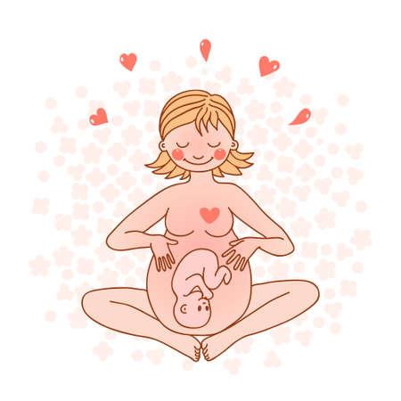 Illustratie van een gelukkige zwangere vrouw Vector illustratie Stock Illustratie
