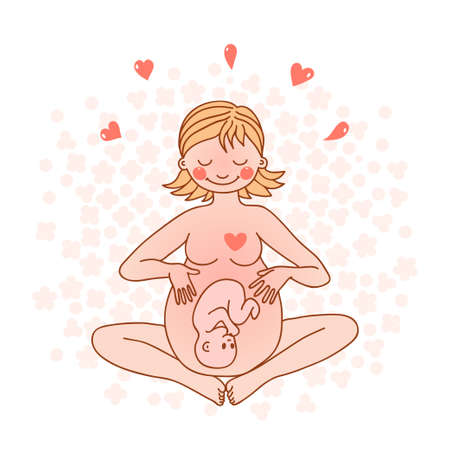 Illustration of a happy pregnant woman  Vector illustration