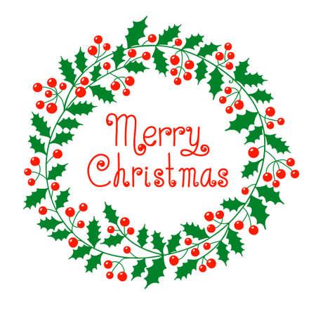 Kerst krans met een wens van vrolijk kerst Vector illustratie