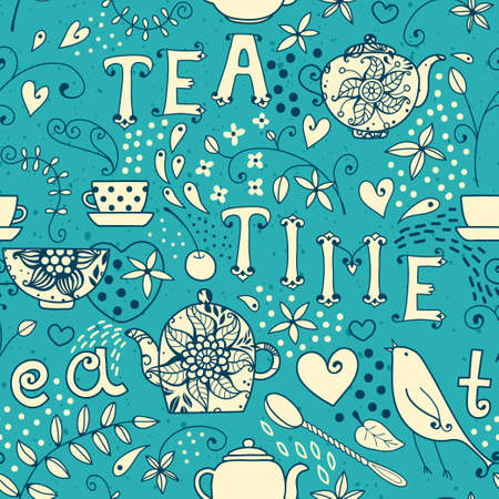 Seamless pattern - Tea Time  Vector illustration  Vector