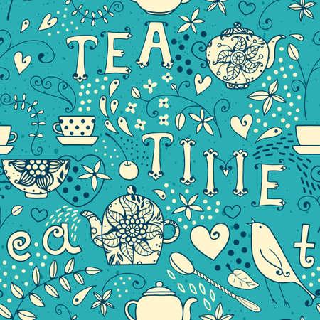 Seamless pattern - Tea Time  Vector illustration