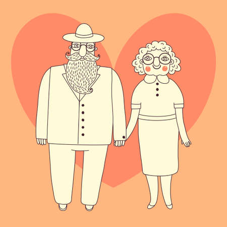 happy older couple: Elderly couple  Grandparents  Vector illustration  Illustration