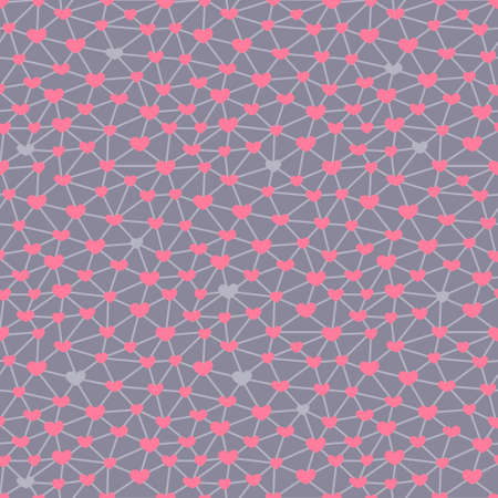 Seamless pattern with hearts connected across a network. Vector illustration. Vector