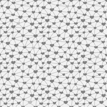 across: Seamless pattern with hearts connected across a network. Vector illustration.