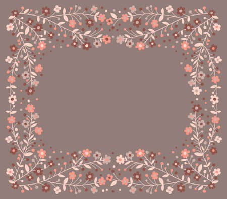 Beautiful frame of flowering branches  Vector illustration  Vector