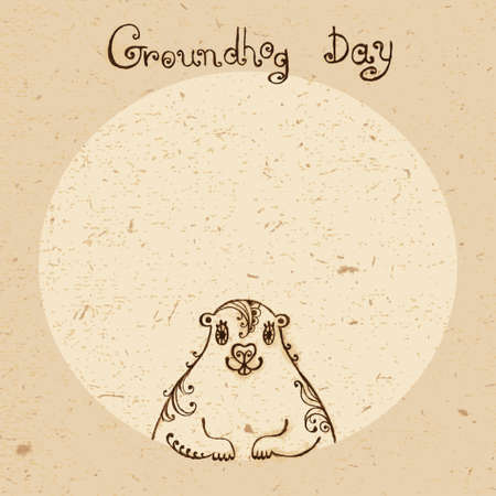 Groundhog Day  Vintage hand drawn card  Vector
