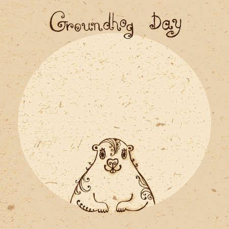 Groundhog Day  Vintage hand drawn card  Vector