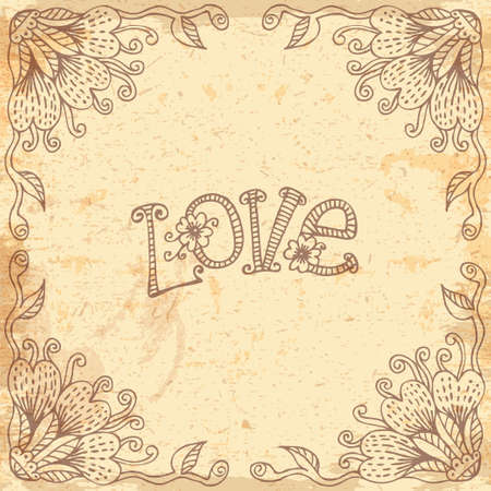 hand drawn frame: Beautiful background with a floral frame drawn by hand. Design element Valentines Day.