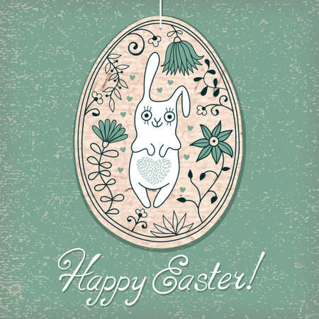 Easter egg with bunny drawn by hand in the style of cartoon  Vector illustration  Vector