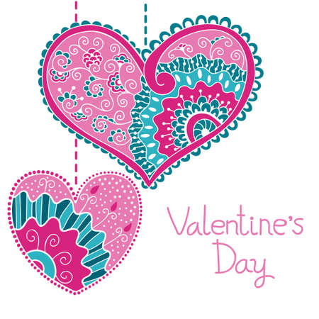 vector hearts:  Decorative card with hearts for Valentine day  Vector illustration  Illustration
