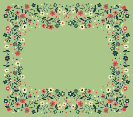 cute border:  Beautiful frame of flowering branches  Vector illustration  Illustration