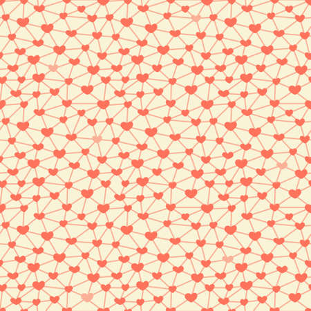 Seamless pattern with hearts connected across a network  Vector illustration  Vector