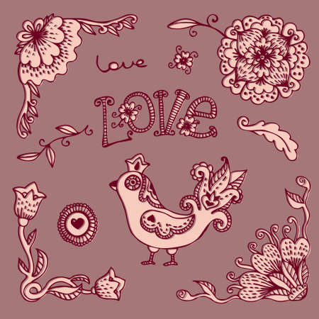 Flowers and Bird. Set Wedding and Valentines Day design elements. Vector illustration. Vector