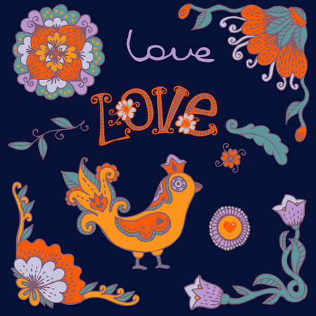Flowers and Bird  Set Wedding and Valentine s Day design elements  Vector illustration  Vector