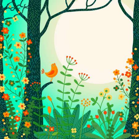 森林風景。鳥とあなたのテキストのための場所の美しい森のシーン。ベクトル イラスト。