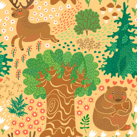Seamless pattern with deer, bears in the woods  Vector