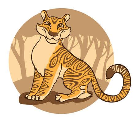 tigresa: Tigresa alegre en un fondo marrón. Ilustración del vector.