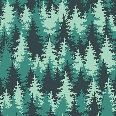 Illustration coniferous forest. Seamless pattern. Vector illustration.