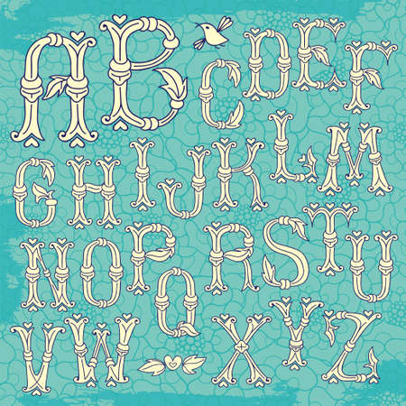 Whimsical Hand Drawn Alphabet Letters. Vector Illustration. Vector