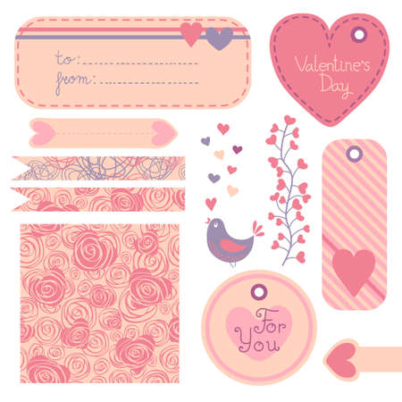 Valentine s Day set of design elements  Vector illustration  Vector