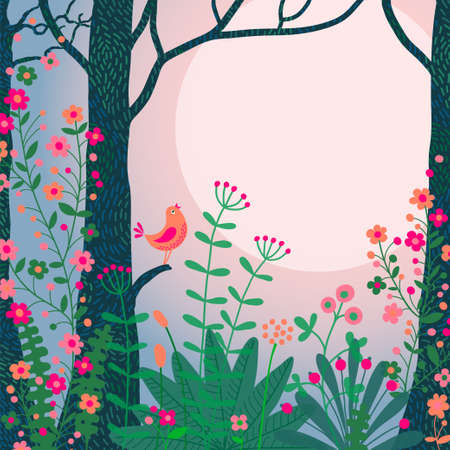森林景観。鳥およびあなたのテキストのための場所の美しい森のシーン。  イラスト・ベクター素材