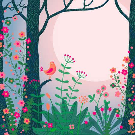 Boslandschap. Mooie bos scène met vogel en plaats voor uw tekst. Stock Illustratie