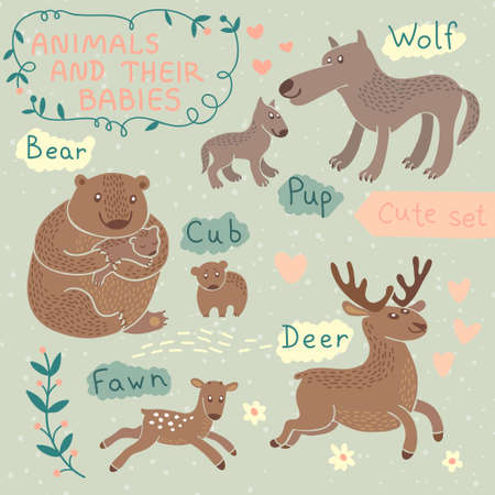 Baby and Mommy Animal Set - for design and scrapbook. Vector illustration.