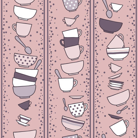 commercial kitchen: Mugs and plates and spoons. Seamless pattern. Illustration