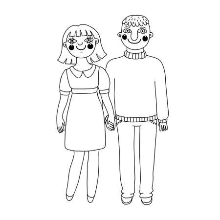 Drawn man and woman. Young couple in love. Vector illustration. Vector