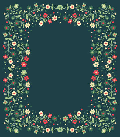 Beautiful frame of flowering branches. Vector illustration. Vector