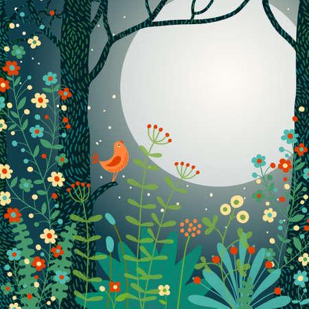 Waldlandschaft. Schöne Wald-Szene mit Vogel und Platz für Ihren Text. Vektor-Illustration. Standard-Bild - 25591774