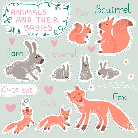 cud: Baby and Mommy Animal Set on paper tags - for design and scrapbook. Vector illustration. Illustration