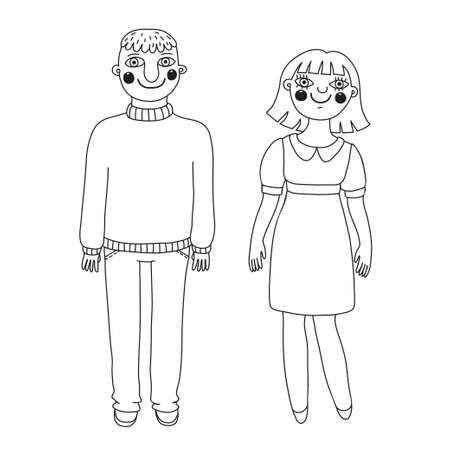 Drawn man and woman. Young couple. Vector illustration. Vector