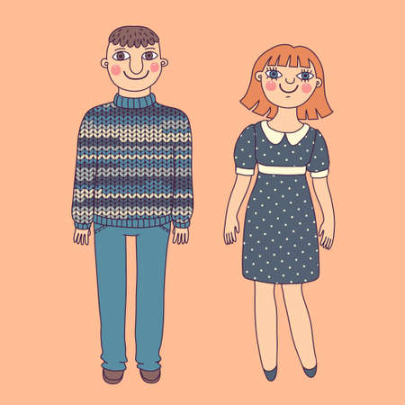 Drawn man and woman. Young couple. Vector illustration.