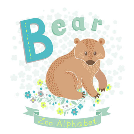 Letter B - Bear. Alphabet with cute animals. Vector illustration. Vector