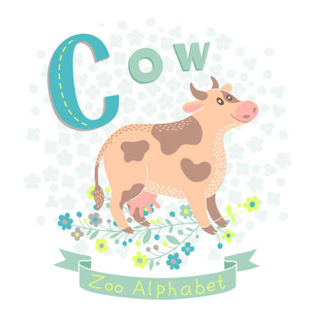 Letter C - Cow. Alphabet with cute animals. Vector illustration. Vector