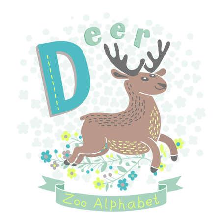 alfabeto con animales: Letra D - Deer. Alfabeto con los animales lindos. Ilustración del vector. Vectores