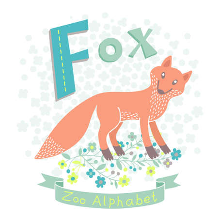 Letter F - Fox. Alphabet with cute animals. Vector illustration.