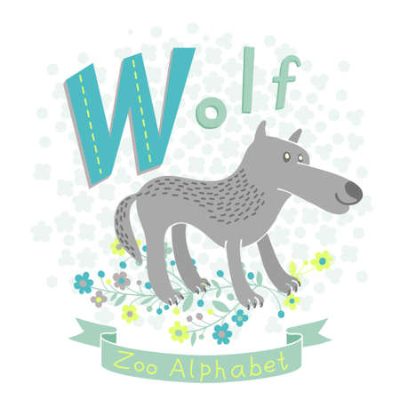 Letter W - Wolf  Alphabet with cute animals  Vector illustration  Vector